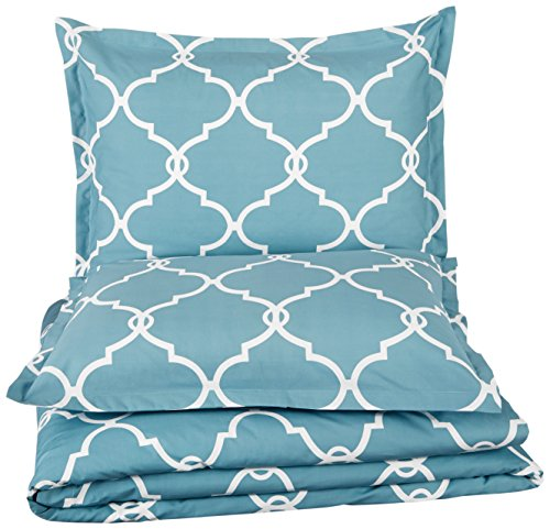 Pinzon 300-Thread-Count 100% Cotton Cool Percale Duvet Cover Set, Full/Queen, Spa Blue by Pinzon by Amazon (Image #2)