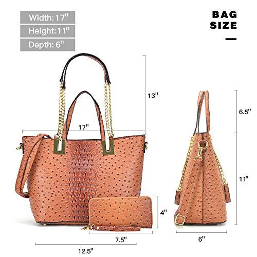 2 with Bag Shoulder Large Purse Multicolor Handbag Ostrich taupe Designer Leather Wallet Satchel Pieces wwZqX0S
