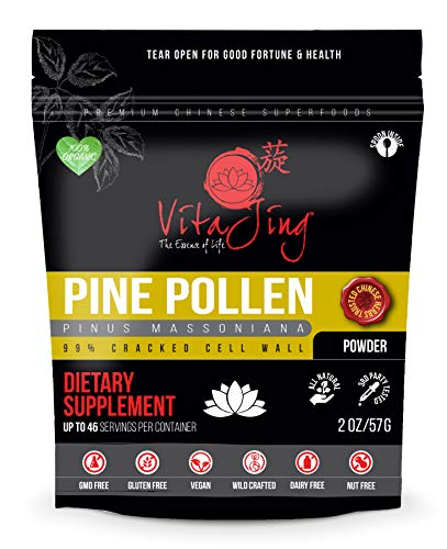 (Organic Pine Pollen Powder Extract (2oz / 57gm) Raw Form, Pure Wild Harvested, 99 Percent Broken Cell Wall for Optimal Absorption and Potency (Up to 46 Servings))