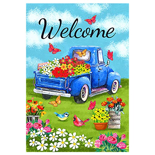 Morigins Welcome Flower Truck House Flag Spring Old Red Truck Daisy House Yard Flag 28 x 40 Inch ()