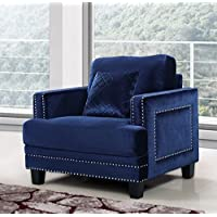 Meridian Furniture Ferrara Velvet Nailhead Chair, Navy