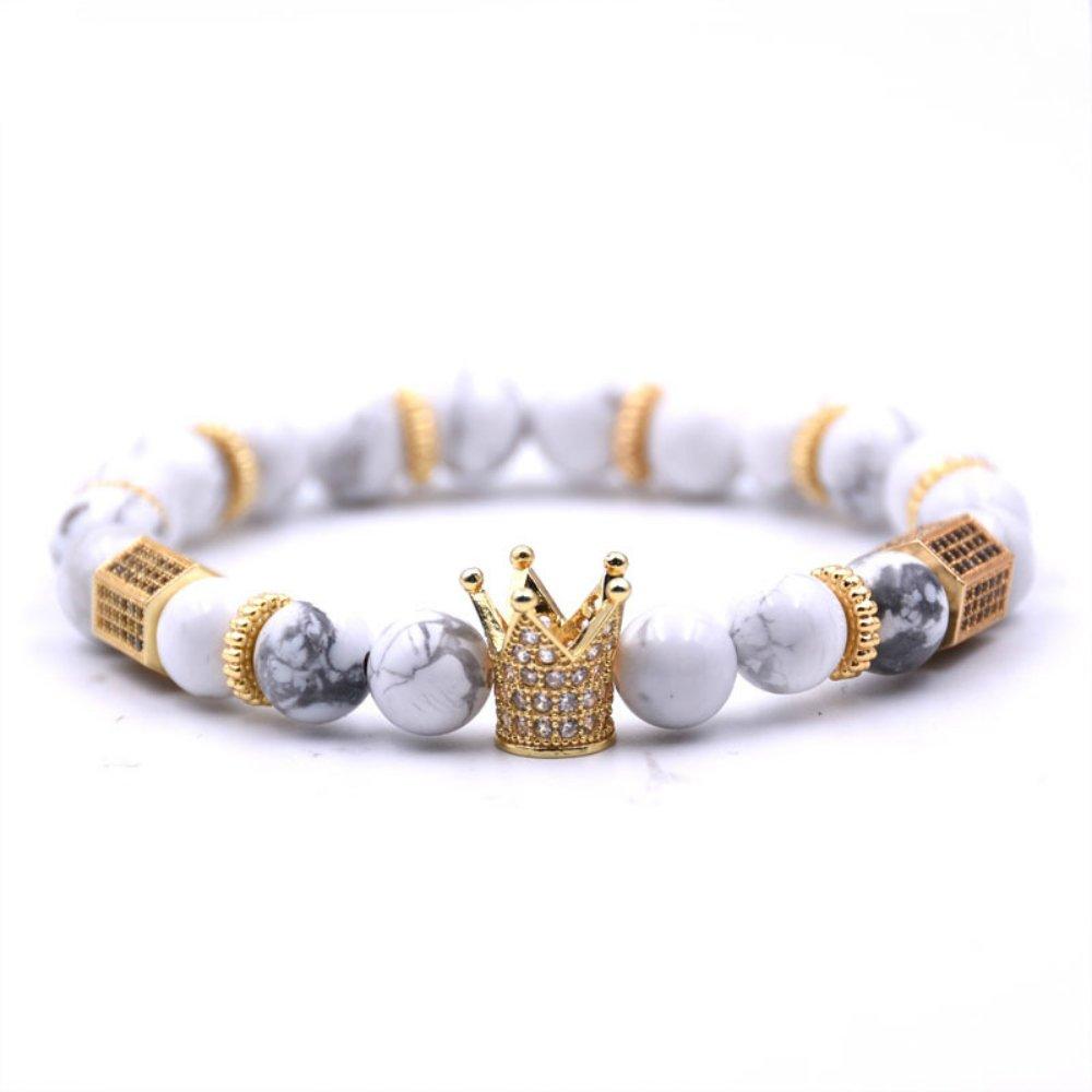 USUASI 1Pc Charm Women/&Men Crown Beaded Bracelet Handmade Bead Lava Stone Silver Skull Head 8mm