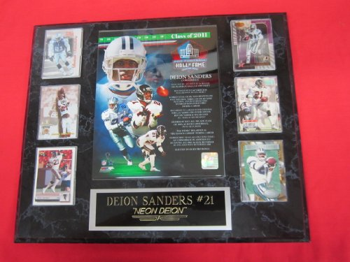 Deion Sanders Hall of Fame 6 Card Collector Plaque w/8x10 Photo -