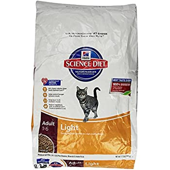 HillS Science Diet Adult Light Dry Cat Food, 17.5 Lb Bag