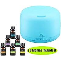 Difusor de Aceite Esencial - Pesoo 500ml Difusor de Aromaterapia de Aceite Esencial Humidificador Ultrasónico Grande Aroma para Habitaciones con Luces LED de 7 Colores y Función de Apagado Automático, Incluidas 6 Botellas de Aceite Esencial como Regalo Gratuito