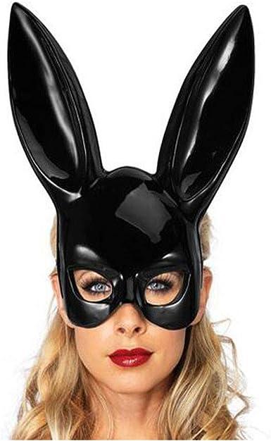 WomenBlack Leathe Rabbit Ear Masks Funny Halloween Dancing Party Mask MasqueradE