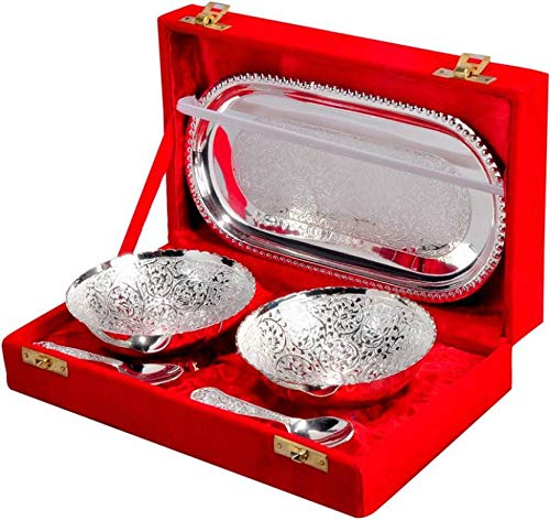 Handmade Designer Gift - GD Handmade Designer 2 Bowls 2 Spoons 1 Tray with Comes with Gift Pack use for Dry Fruits, Gifting Purposes on Wedding Aniversary Diwali Navratri Occasion.