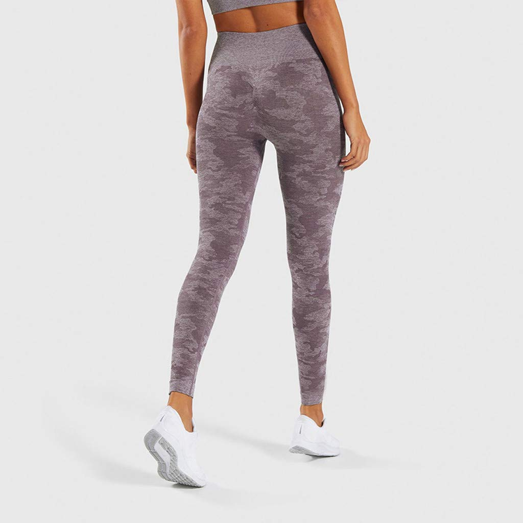 Cliramer Womens Sweatpants Seamless Camouflage Knitted Yoga Pants Women Control Slim Leggings with Pockets Leggings High Waist Tummy Control Workout Leggins for Women Running Tights