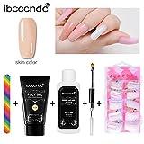 Women's Rosa Nail Gel Tips Extension Set, Hot Sale Iuhan Poly Gel Lasting False Nails Liquid Double-end Nail Brush Pusher Dead Skin Set (D)