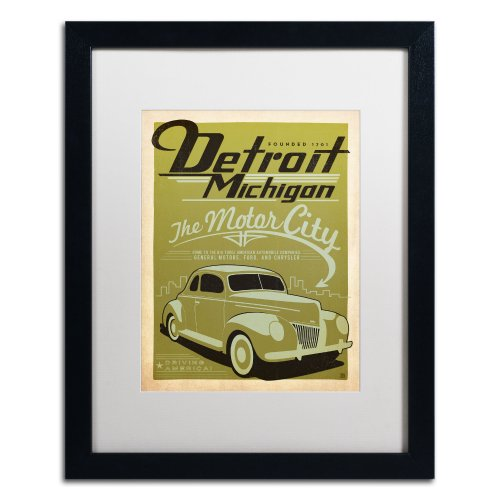 Trademark Fine Art Detroit Canvas Artwork by Anderson Design Group, 16 by 20-Inch, White Matte with Black Frame