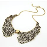 Vintage Style Bronze Hollow Metal Flower Shape False Collar Choker BIB Necklace
