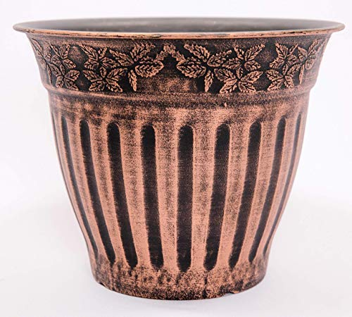 Doric Order Inspired Fancy Plastic Planter 10X8 in Nursery Flowerpot for Indoor Outdoor Garden Patio Office Holiday Ornaments Home Decor Long Lasting Reusable Lightweight Water Resistant (Copper-DO)