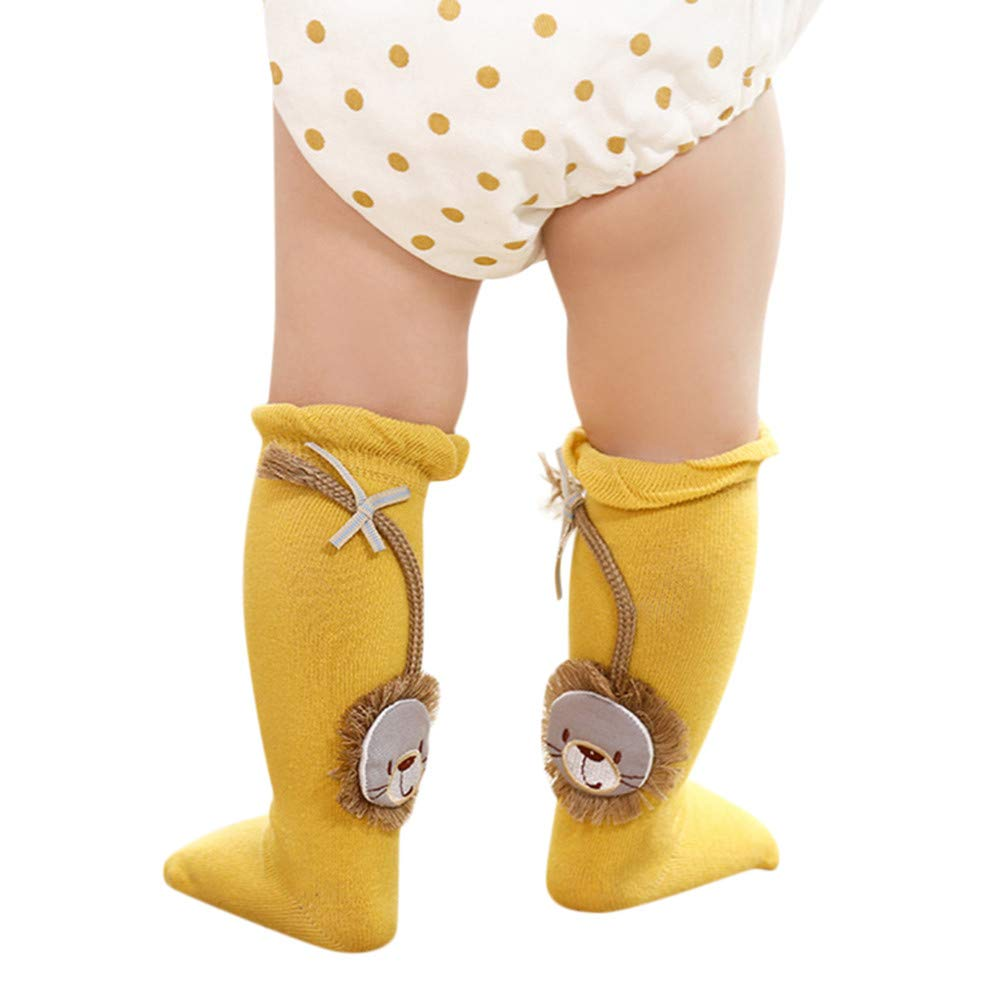 Baby Knee High Stockings Tube Socks, Toddler Unisex Baby Infant Non Skid Slip Knit Cotton Long Socks With Grips (S, Yellow)
