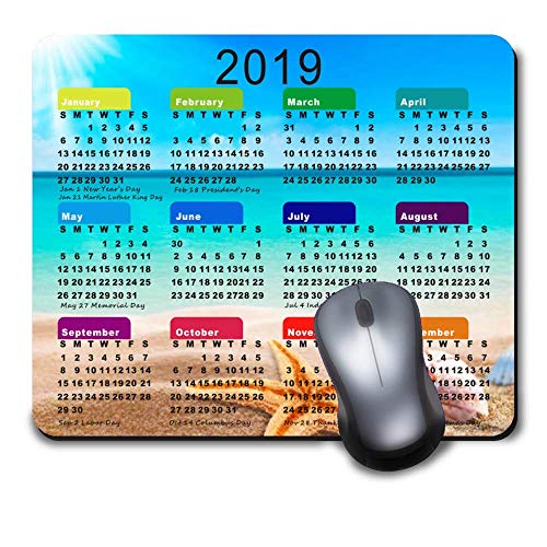 Starfish and Shells White Sand Beach 2019 Calendar Mouse pad Custom Mouse Pad Waterproof Material Non-Slip Rubber Mouse Pad for Office Desktop or Gaming Mouse Mat Keyboard Pad