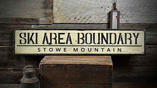 The Lizton Sign Shop Ski Area Boundary Wood Sign, Personalized Skiing Location Mountain Name Ski Lodge Decor - Rustic Hand Made Vintage Wooden Sign - 11.25 x 60 Inches