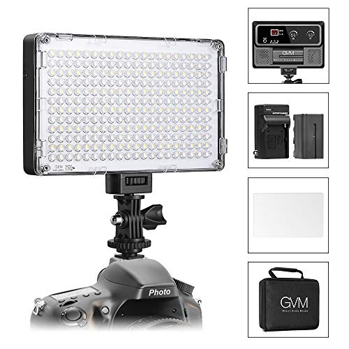 GVM Led Camera Light Dimmable Photo Light Panel High Brightness Adjustable Bi-Color Temperture CRI97 3200K/5600K LED Video Light for Digital DSLR Camera Camcorder