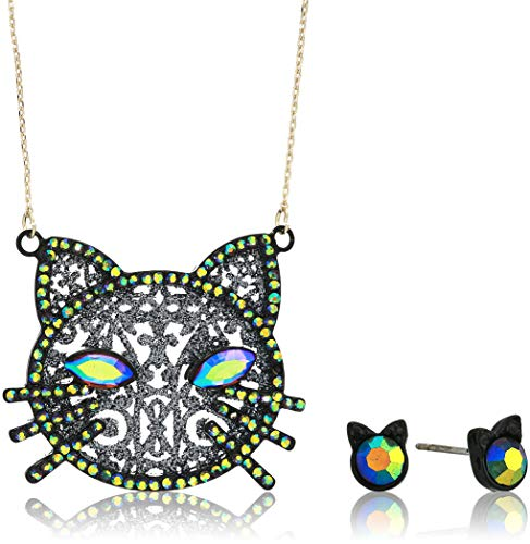 Betsey Johnson (GBG) Betsey's Dark Magic Cat Pendant Necklace and Stud Earrings Set, Black, One Size