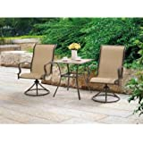 Mainstays Wesley Creek 3-Piece Bistro Set with Swivel Chairs, Tan