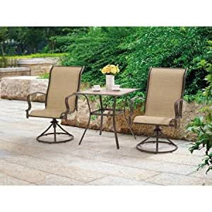Mainstays wesley creek 3 piece bistro set with for Outdoor furniture amazon