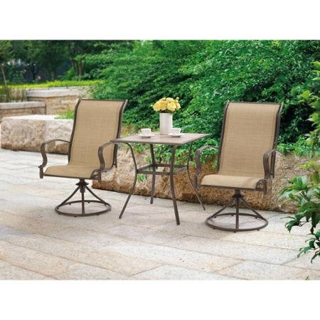 Mainstays Wesley Creek 3-Piece Bistro Set with Swivel Chairs (Tan) (Walmart Clearance Sets Patio)