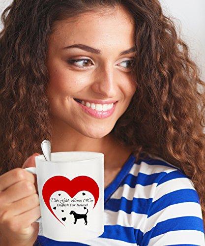 This Girl Loves Her English Foxhound Dog White Coffee Mug - 11 oz Novelty Tea Cup - (English Fox Hunter Costume)