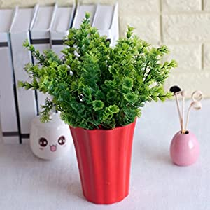 lightclub 1 Bouquet Artificial Mimosa Plastic Green Plant Home Office Shop Decoration Green 10