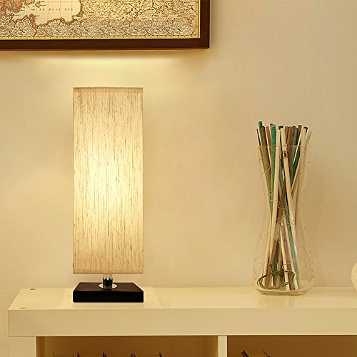 Bedside Table Lamp, Aooshine Minimalist Solid Wood Table Lamp Bedside Desk Lamp With Square Flaxen Fabric Shade for Bedroom, Dresser, Living Room, Kids Room, College Dorm, Coffee Table, Bookcase by Aooshine (Image #1)
