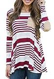 Chvity Women Stripes Printed Long Sleeve Plus Size T-shirt Tunic Christmas Tops (Red, XXL)