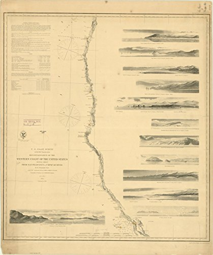 Historic Map | United States West Coast 1864 | Reconnaissance of The Western Coast of The United States : Middle Sheet : from San Francisco to Umpquah [sic.] River | 24in x 30in