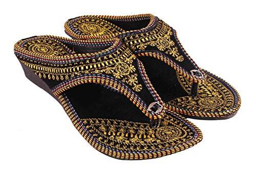 beauty craft Women's Black Velvet Rajasthani Jaipuri Ethnic Golden Zari Embroidery Work Sandal (Ind/UK:7, EU:40)