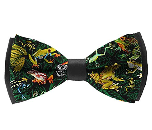 Casual And Formal Pre-Tied Bow Ties - Frogs On Leaves Green - Banquet Rave Party Tuxedo Creative Bow Ties, Adjustable Elegant Bow Ties -