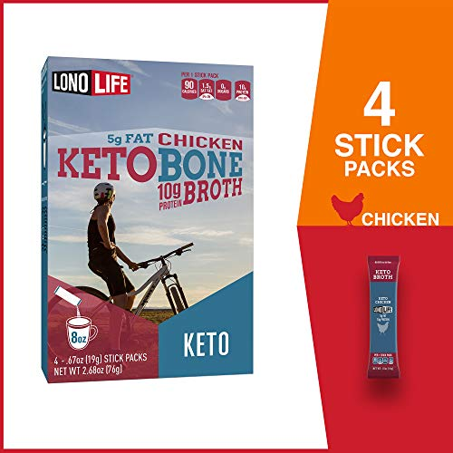 LonoLife Keto Chicken Bone Broth, 5g Fat, 10g Protein, Paleo and Keto Friendly, Stick Packs, 4 Count