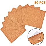 Renba Self-Adhesive Cork Squares,Cork Backing Sheets Mini Wall Cork Tiles for Coasters and DIY Crafts (80 Pcs)