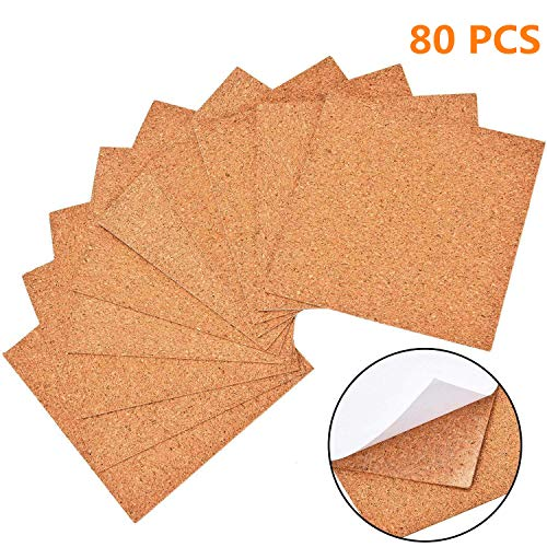 QICI 80 Pcs Self-Adhesive Cork Sheets 4x 4 for DIY Coasters, Square Cork Coasters, Mini Wall Cork Tiles with Strong Self Adhesive Backing