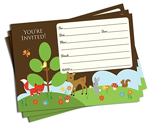 50 Woodland Forest Friends Invitations (5x7) - Baby Shower - Birthday Party - Any (Friends Party Invitations)