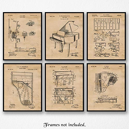 Vintage Piano Patent Poster Prints, Set of 6 (Six 8x10) Unframed Photos, Wall Art Decor Gifts Under 20 for Home, Office, Garage, Man Cave, College Student, Teacher, Pianist, Symphony & Music Fan