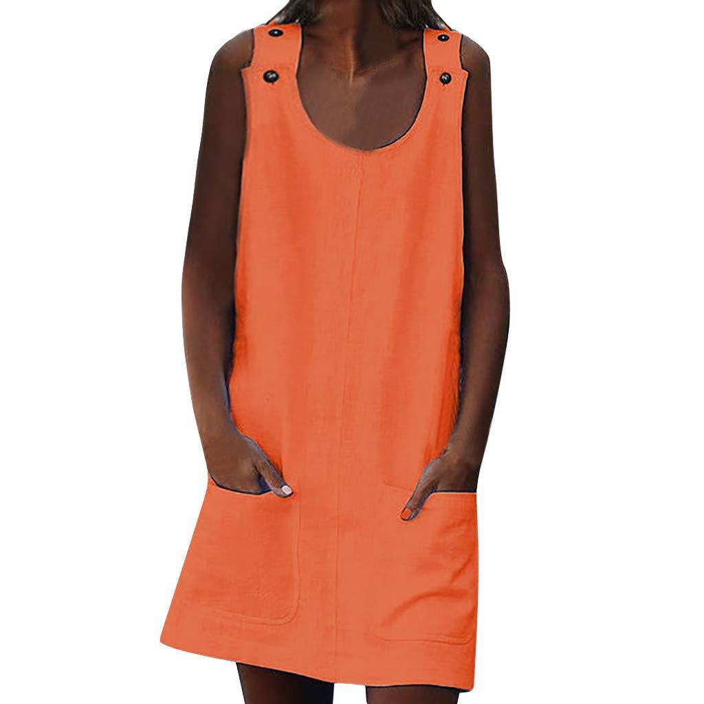 BAOHOKE O-Neck Sleeveless Pocket Tank Tops Mini Dresses for Women, Summer Loose Casual A-Line Slim Dress(Orange,L)
