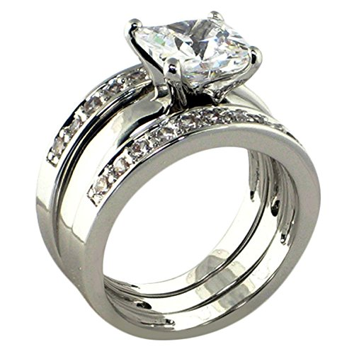 Solitaire 3 Ct. Princess-shape Cubic Zirconia Cz Bridal Engagement Wedding 3 Piece Ring Set (Center Stone Is 2.25 Cts) (10)