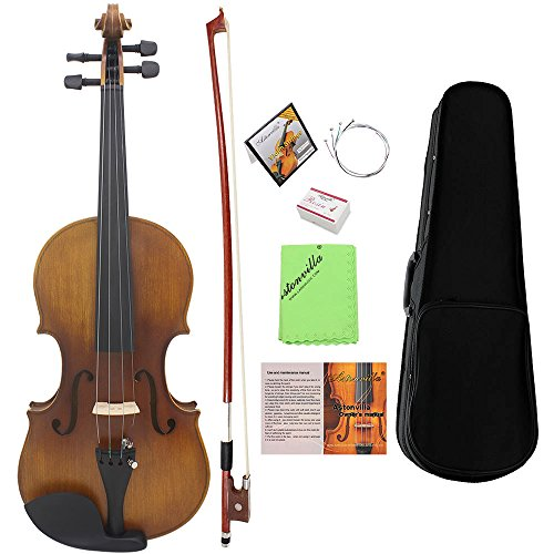 ammoon Full Size Violin Fiddle Solid Wood Matte Finish Spruce Face Board Ebony Fretboard 4-String Instrument with Hard Case Bow Rosin Clean ()