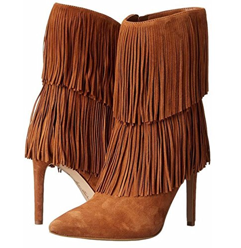 De Alto Acogedor Tacón Linyi Borla Aguja Brown Invierno Otoño Botas Las Mujeres Zapatos Viaje BUwq5xgqS