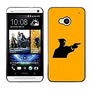 LECELL -- Funda protectora / Cubierta / Piel For HTC One M7 -- Yellow Mad Guy --