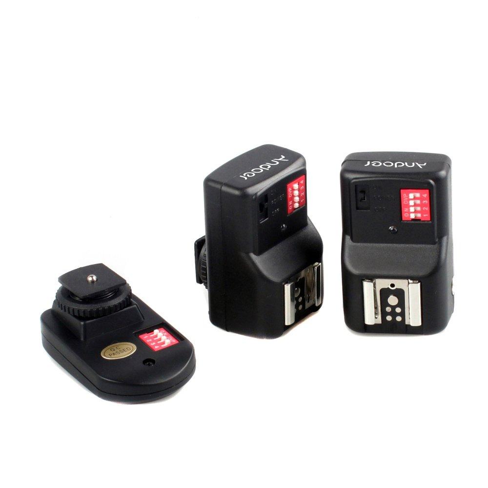 16 canales Andoer PT-04GY Disparador de Flash Universal Control Remoto de radio inal/ámbrico 1 transmisor y 2 Receptores para Canon Nikon Pentax Olympus
