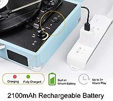 JORLAI Tocadiscos Velocidad 33/45/78 con Bluetooth, Batería de ...