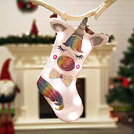 Lager Plush Unicorn Xmas Gift Bag Holders Hair Bands and BraceletInclud for Kids AOCHERN Christmas Stocking Socks White A