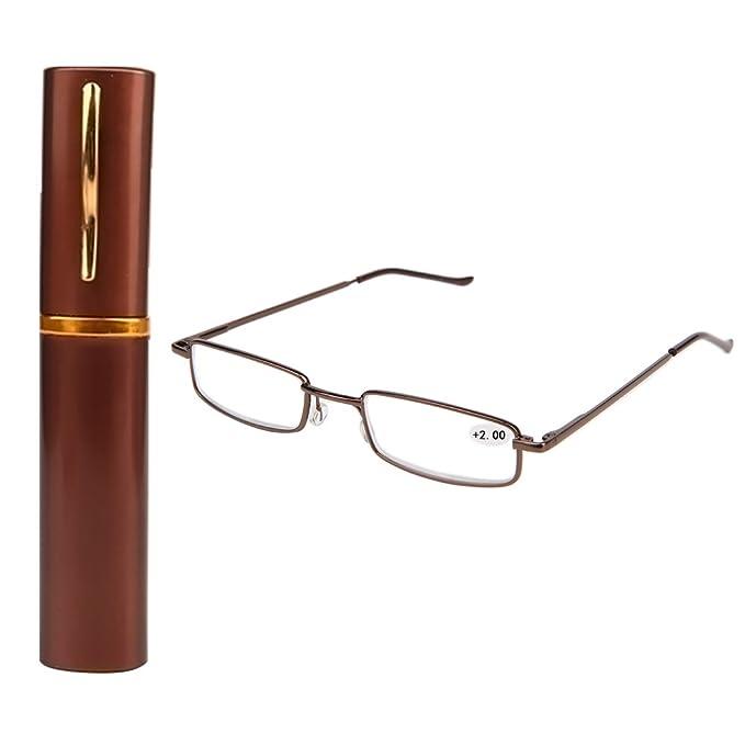 c4f774e66ed8 Lergo Reading Glasses Colors Unisex Metal With Tube Case  +1.5+2.0+2.5+3.0+3.5+4.0: Amazon.co.uk: Clothing