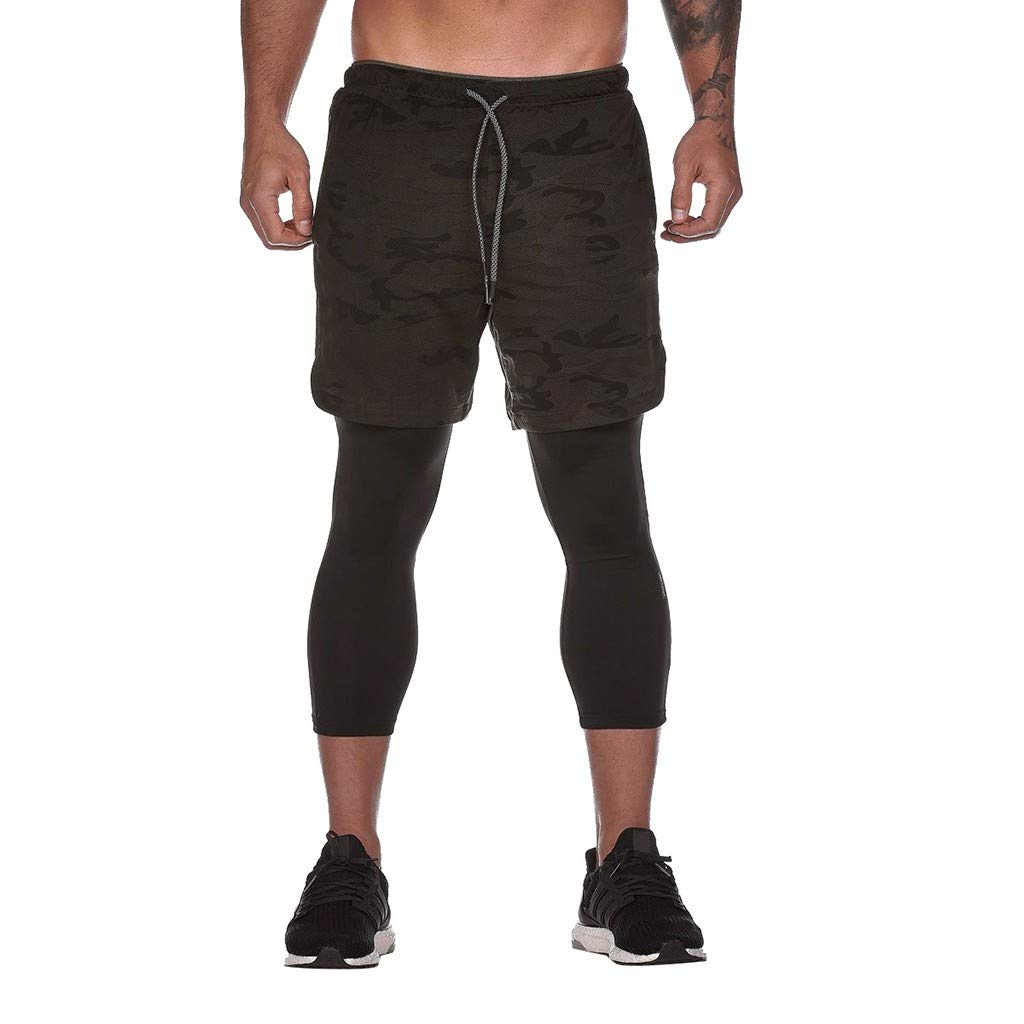 DIOMOR Mens Athletic Outdoor 2 in 1 Shorts Fitness Built-in Pocket Running Leggings Liner Quick Dry Workout Gym Pants by DIOMOR