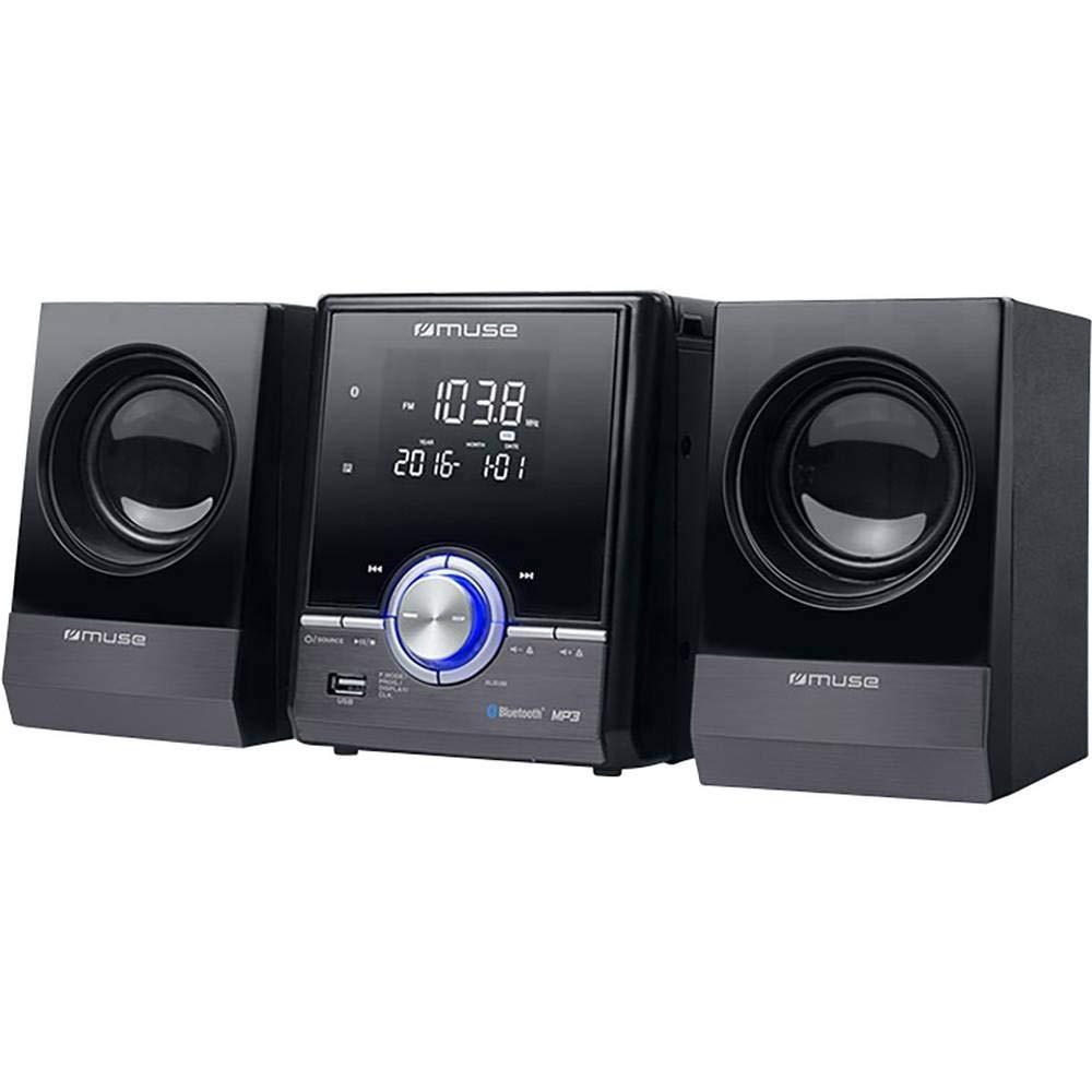 CD USB Argent 1 pc Cha/îne st/ér/éo Muse M38BT M38BT AUX FM Bluetooth Fonction de Charge de la Batterie 2 x 10 W Noir