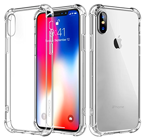 - For iPhone X Case/iPhone 10 Case, MoKo Crystal Clear Reinforced Corners TPU Bumper Cushion + Anti-scratch Hybrid Rugged Transparent Panel Cover for Apple iPhone X 2017 - Crystal Clear