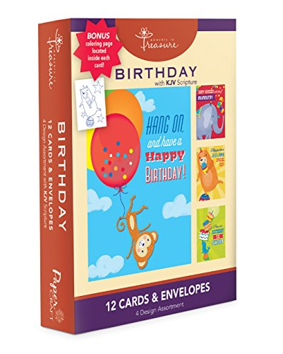 Price comparison product image Assorted 12 Pack Boxed Animal Birthday Cards Bulk For Kids With KJV Scripture - Elephant, Monkey, Bird and Bear Greeting Cards Bday For Her For Him