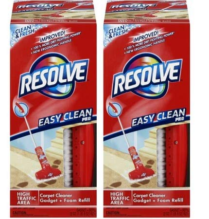 Resolve Easy Clean Pro Carpet Cleaner Gadget & Foam Spray Refill, Clean & Fresh 22oz Can, Carpet Shampooer System (2) by by Resolve